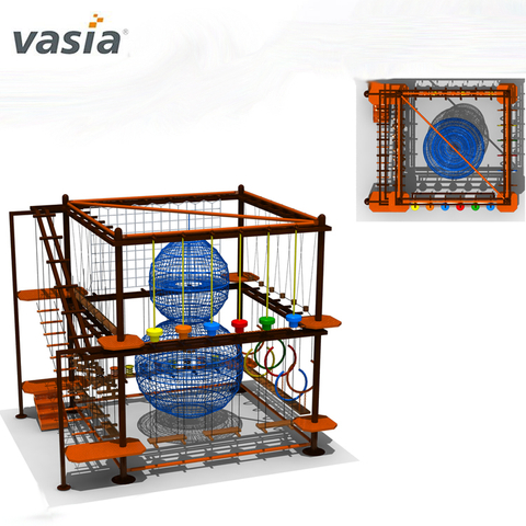Professional Exsiting Play Structure Sky Trail Rope Course Equipment