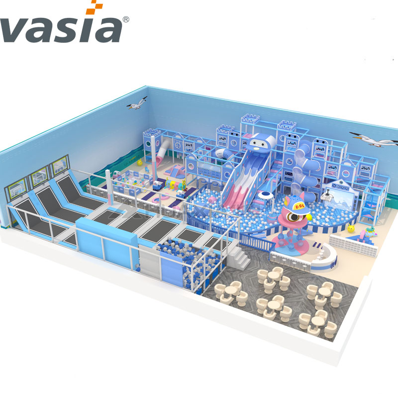 Vasia Best Kids Play Area Children Indoor Playground Equipment with Trampoline And Big Slide Indoor