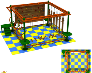 Wooden Playground with Ropes Rope Course Adventure with Climbing Wall