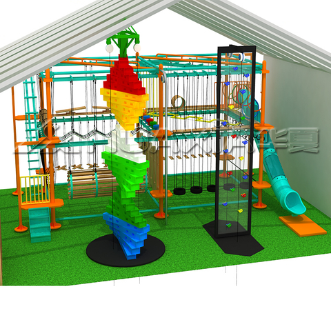Hottest Selling Indoor Playground Climbing Rope Kids Ninja Adventure Indoor Ropes Course